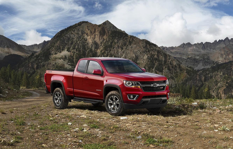 Photo wallpaper red, Chevrolet, jeep, Chevrolet, Colorado, pickup, Colorado, Z71, Extended Cab, 2015, Trail Boss