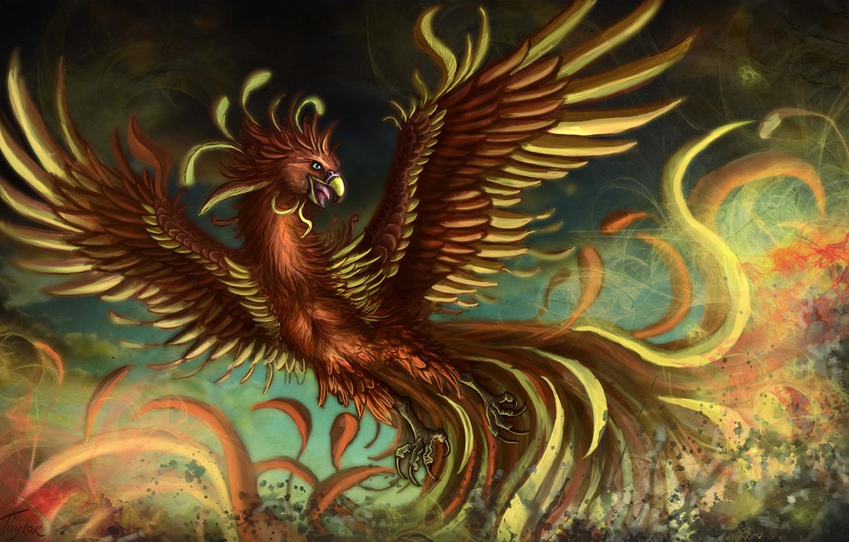 Photo wallpaper bird, wings, feathers, fantasy, art, Phoenix