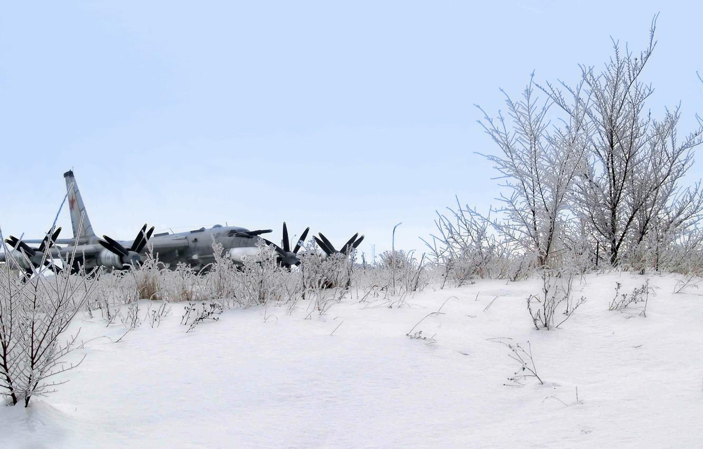 Photo wallpaper winter, snow, the plane, missile, strategic bomber, Tu-95MS