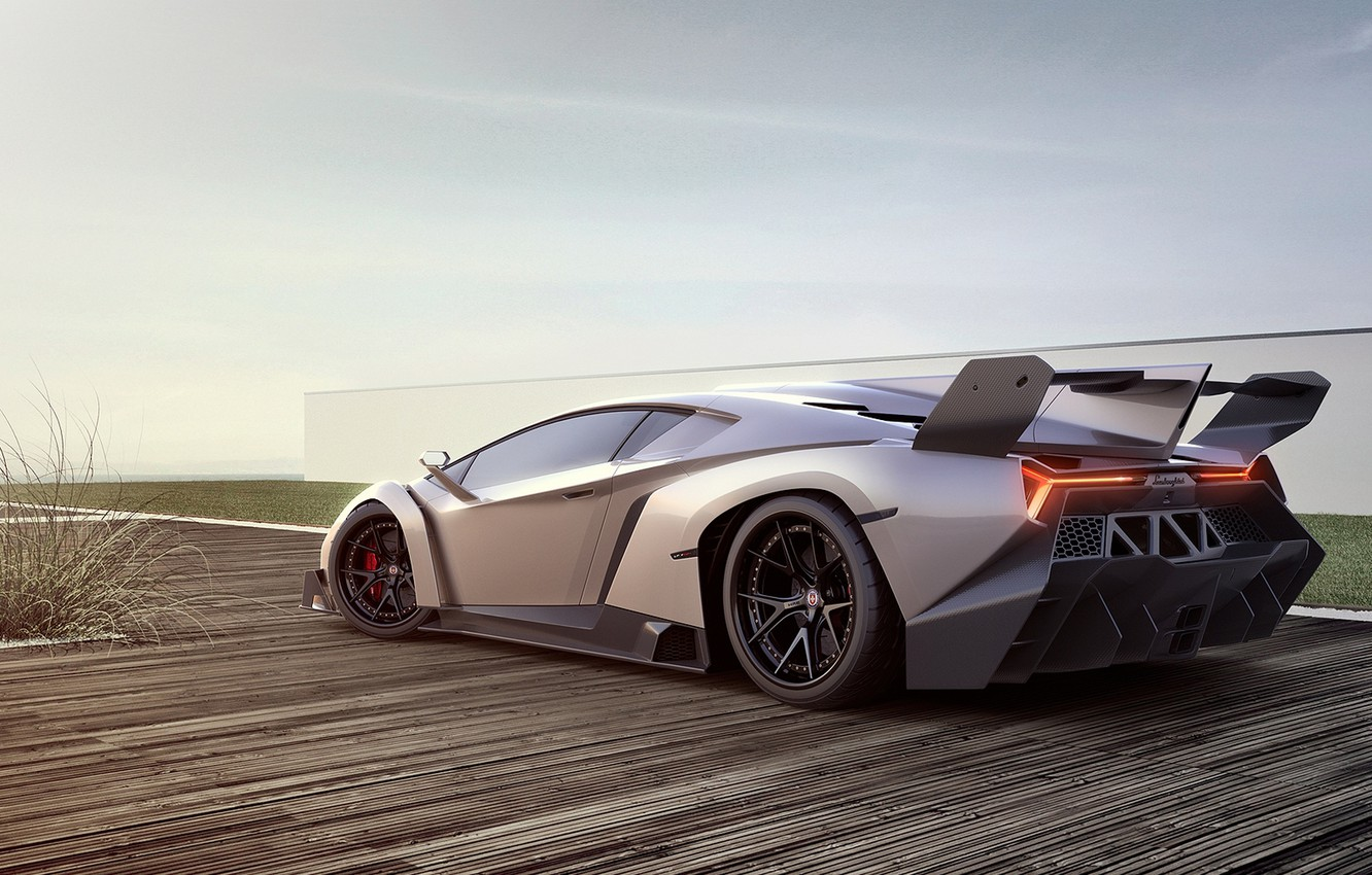 Photo wallpaper car, machine, auto, Lamborghini, supercar, supercar, Lamborghini, avto, Veneno, Veneno, silver grey, silver grey