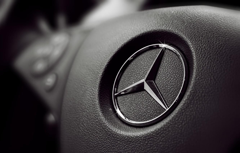 Photo wallpaper sign, black, panel, logo, the wheel, button, Mercedes