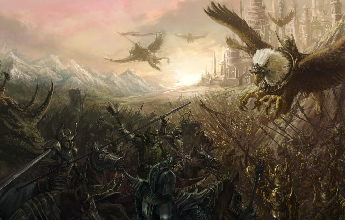 Photo wallpaper the city, horses, army, art, battle, the battle, riders, Griffin