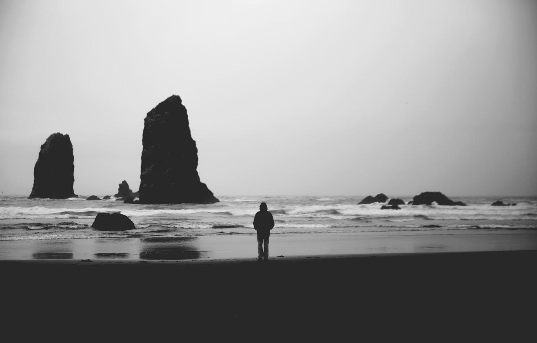Photo wallpaper waves, beach, rocks, man, shadows, troubled sea, gray clouds