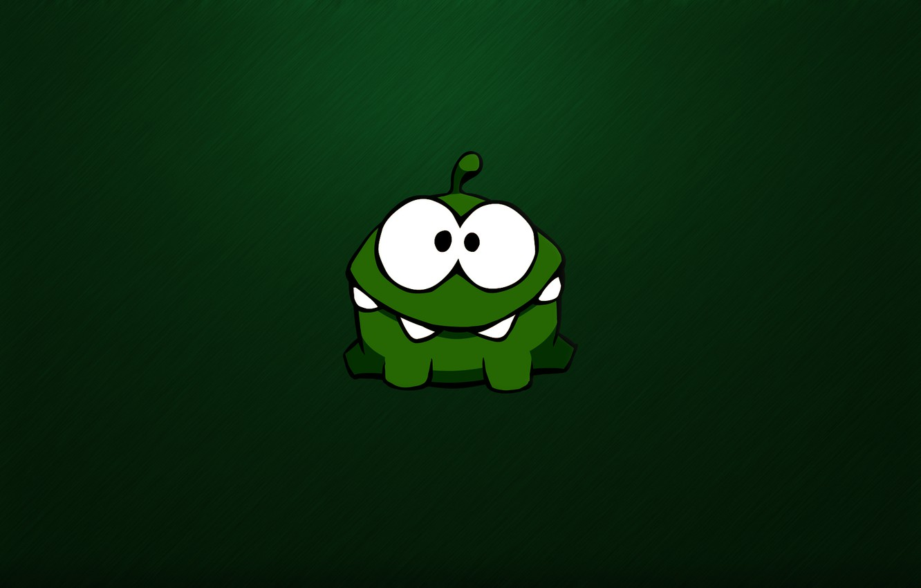 Photo wallpaper green, green, monster, monster, monster, eyed, crank, toothy, Cut the Rope