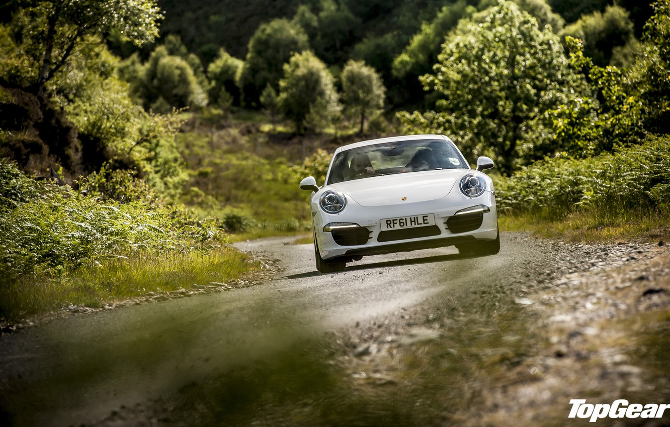 Photo wallpaper road, white, grass, trees, 911, Porsche, Top Gear, supercar, the front, the best TV show, …