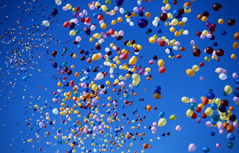 Photo wallpaper balls, balloons, The sky, colorful