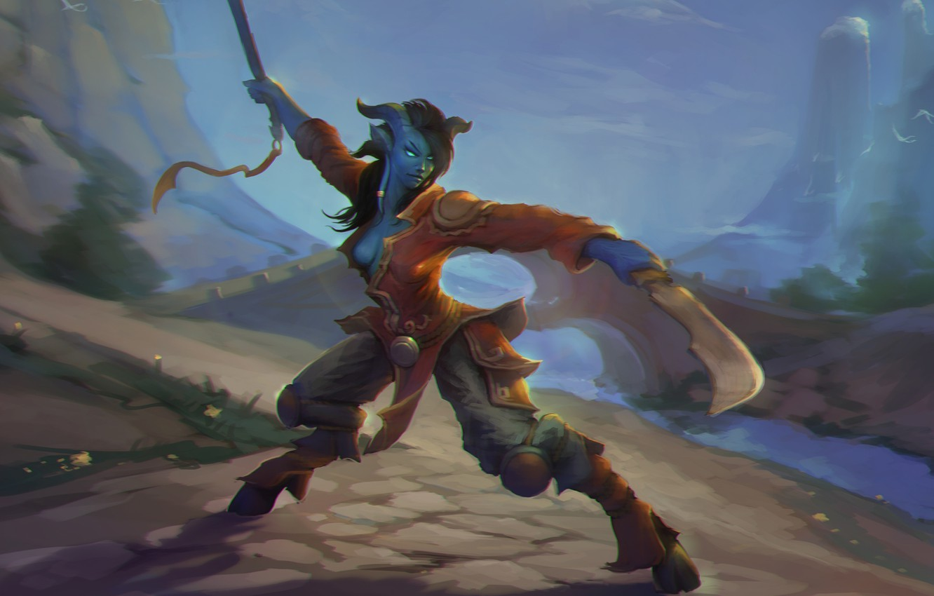 Photo wallpaper girl, mountains, bridge, horns, WoW, World of Warcraft, swords, stand, hooves, Draenei