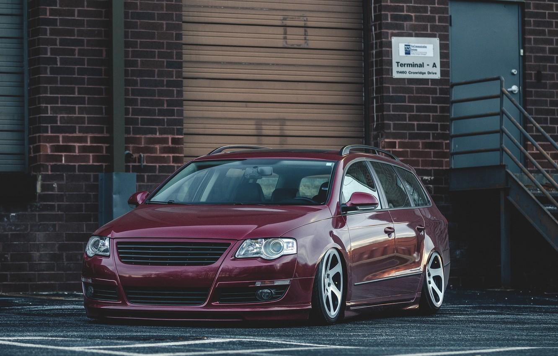 Photo wallpaper Volkswagen, Red, Car, Stance, Passat, Dapper, Variant