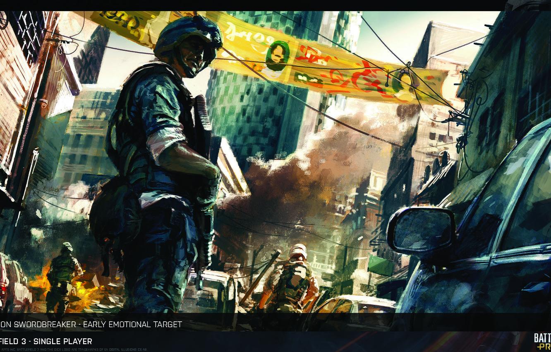 Photo wallpaper The city, Soldiers, America, Art, Battlefield 3, The Battlefield
