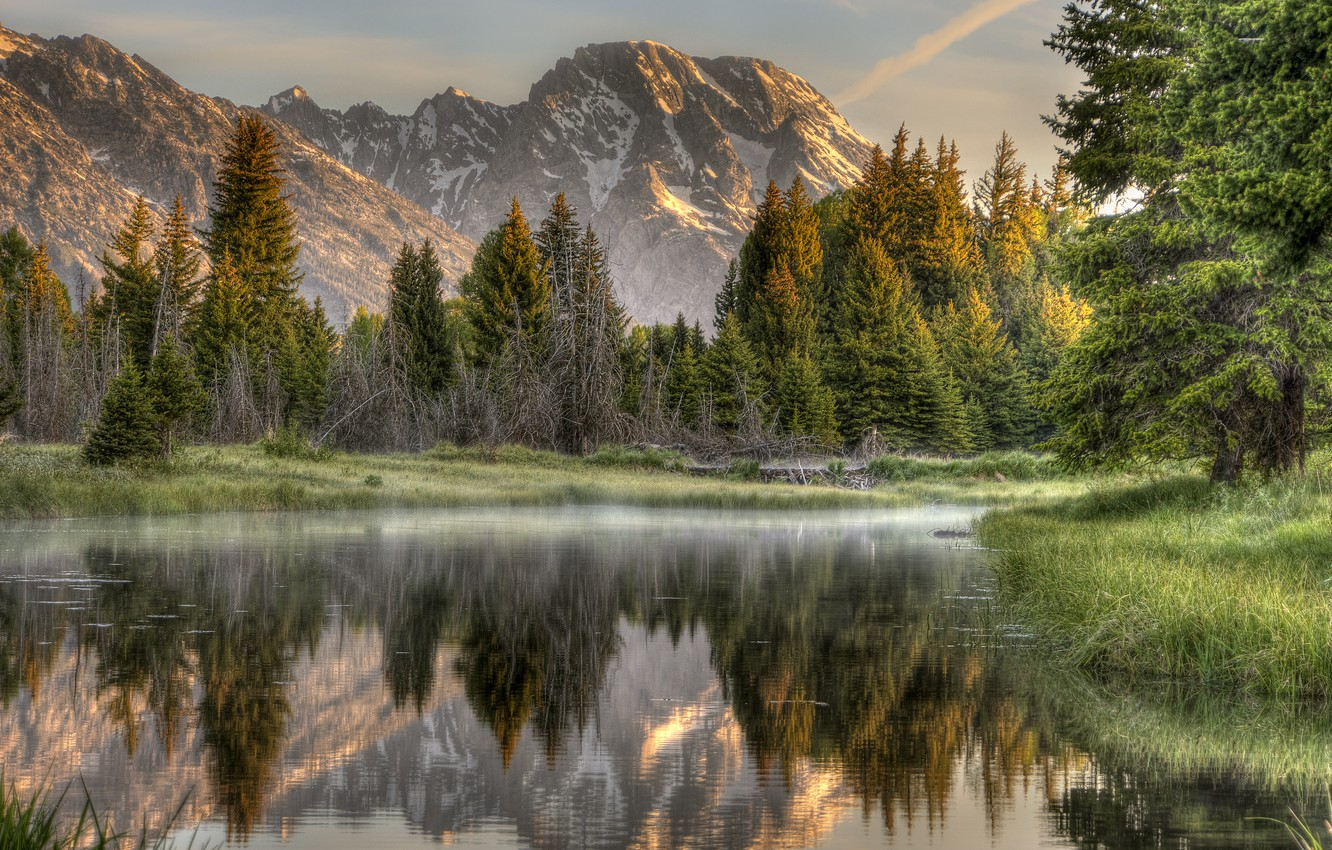 Photo wallpaper forest, mountains, nature, reflection, river