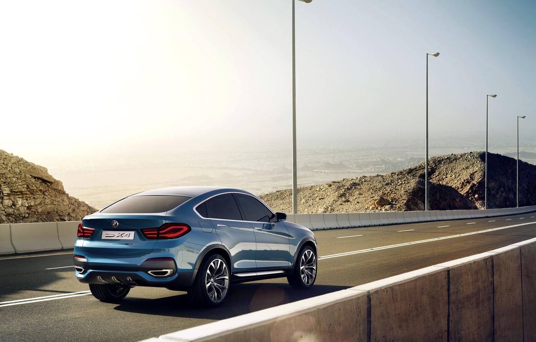 Photo wallpaper Concept, Auto, Road, Blue, BMW, Posts, Machine, Boomer, Asphalt, BMW, Day, Jeep
