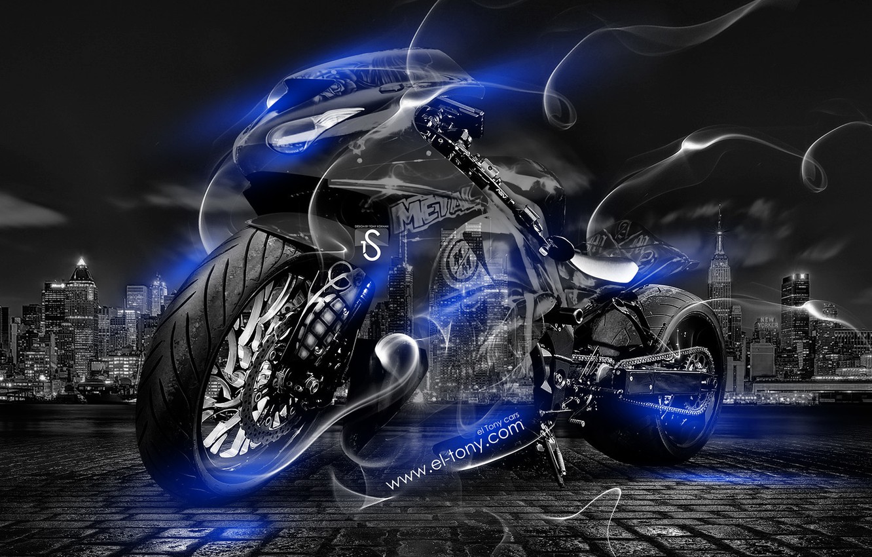 Photo wallpaper Night, Blue, The city, Smoke, Neon, Style, Wallpaper, Bike, Motorcycle, Blue, City, Moto, Art, Blue, …