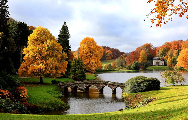 Photo wallpaper autumn, bridge, lake, England, Gold, Pantheon, The Palladian