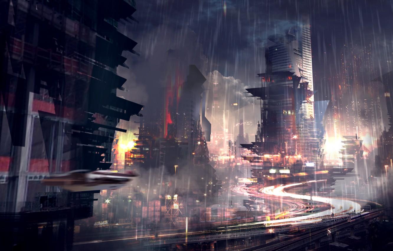 Photo wallpaper the city, future, rain, skyscrapers, Noir, megapolis