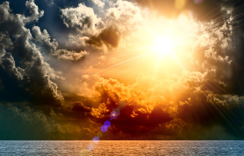 Photo wallpaper sea, wave, the sky, water, the sun, clouds, clouds, the ocean, Nature, horizon, Blik