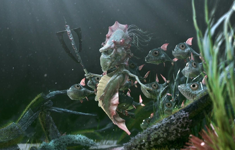 Photo wallpaper fish, king, axe, sea, skate