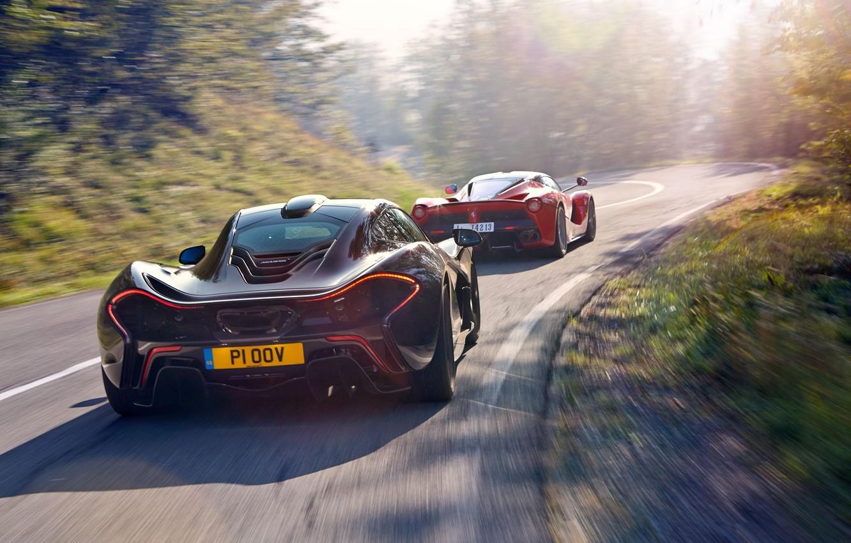 Photo wallpaper McLaren, Ferrari, Red, Sky, Power, Speed, Black, Sun, Supercars, Road, LaFerrari, Rear, Skid, Lead, Moutian