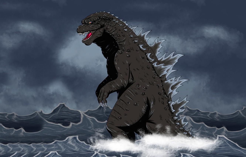 Wallpaper sea, water, monster, dinosaur, Godzilla, Godzilla