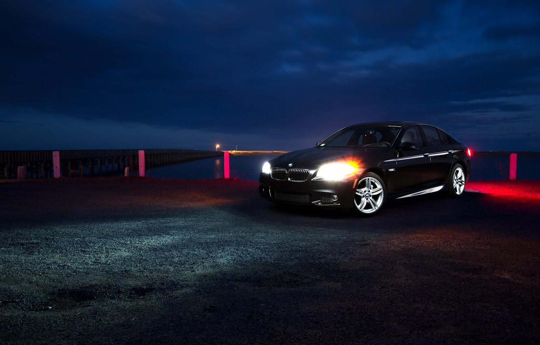 Photo wallpaper night, glare, shore, BMW, BMW, pierce, black, black, front, F10, 5 Series