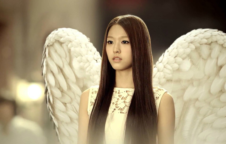 Photo wallpaper angel, feathers, Asian, long hair, k-pop, Elvis, Korean, white wings, AOA, video clip
