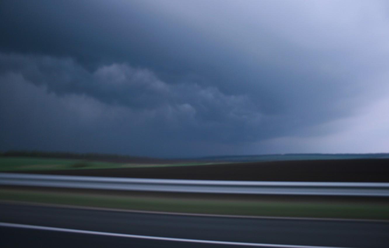 Photo wallpaper road, sky, Storm, clouds