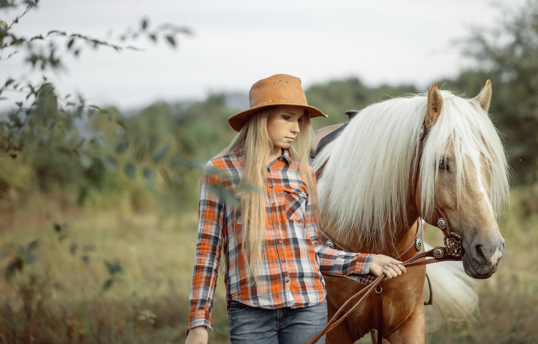 Photo wallpaper girl, nature, horse