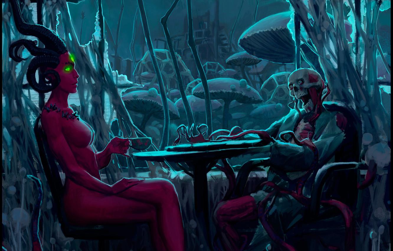 Photo wallpaper table, meeting, horns, mutant, alexiuss, dead, romantic apocalyptic, Zee Captain