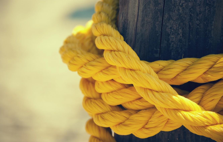 Photo wallpaper yellow, post, rope, rope, thread