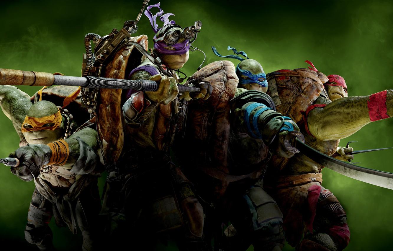 Photo wallpaper green, weapons, background, fiction, smoke, mask, Teenage mutant ninja turtles, Raphael, Leonardo, Donatello, Teenage Mutant …