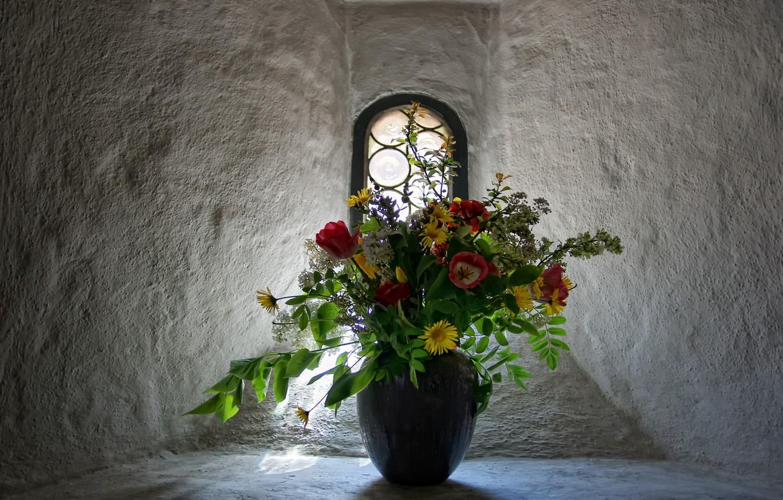 Photo wallpaper flowers, bouquet, window