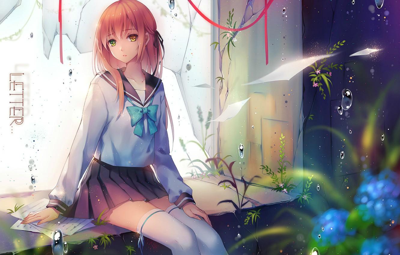 Photo wallpaper grass, drops, stockings, window, schoolgirl, vocaloid, sheets, art, broken, letter, different eyes, sailor, Tidsean, Niya