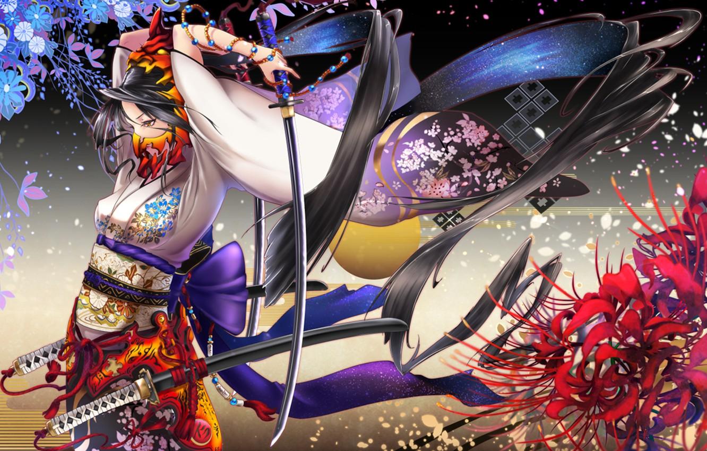 Photo wallpaper flowers, Girl, mask, kimono, swords, katana