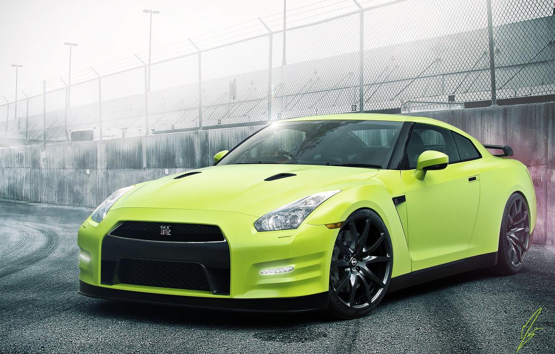 Photo wallpaper Nissan, GT-R, Car, Green, Color, R35, Sport, Track, Haze
