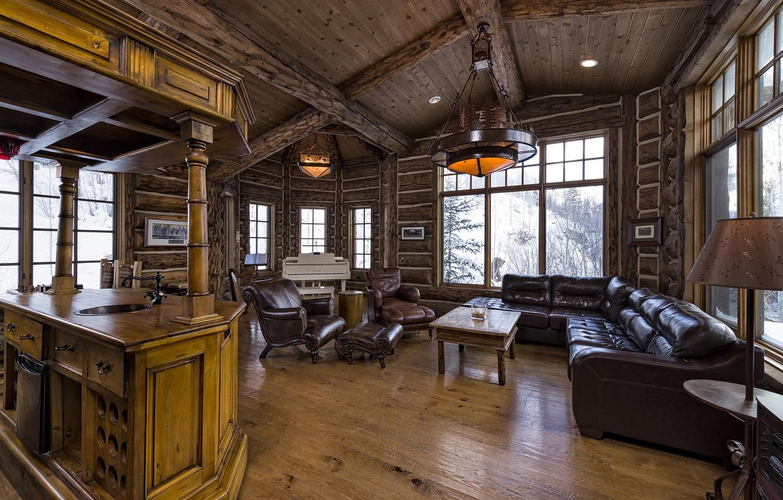Photo wallpaper wooden, living room, luxury, colorado, blue sky lodge