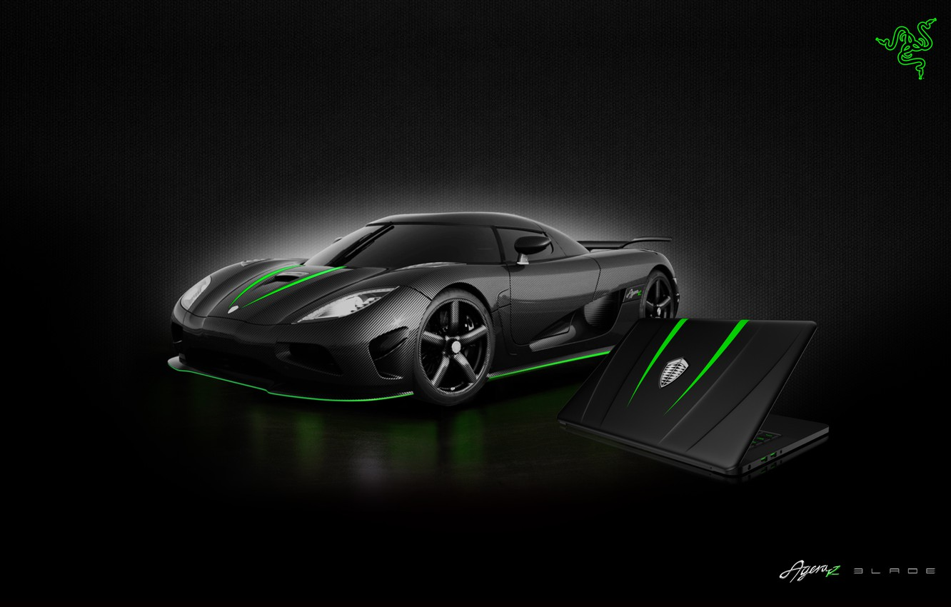 Photo wallpaper Auto, Green, Black, Logo, White, Wallpaper, Hi-Tech, Razer Blade, Koenigsegg Agera R
