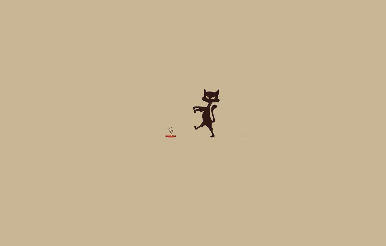 Photo wallpaper animals, movement, food, minimalism, humor, Cat, zombies, center, sausage