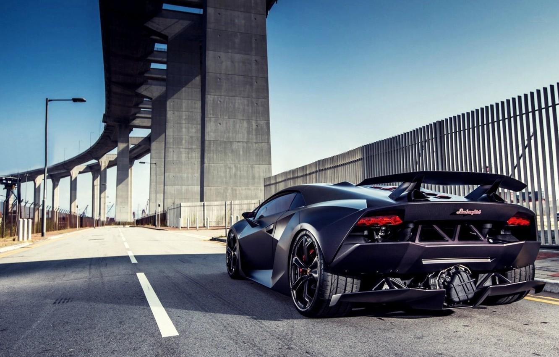 Photo wallpaper bridge, Lamborghini, support, spoiler, carbon, Sesto Elemento
