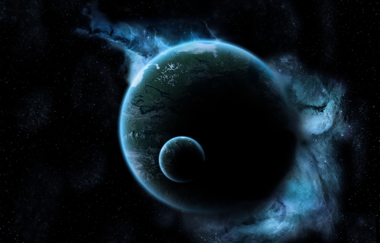 Photo wallpaper space, stars, light, darkness, earth, the moon, planet, glow, space, black