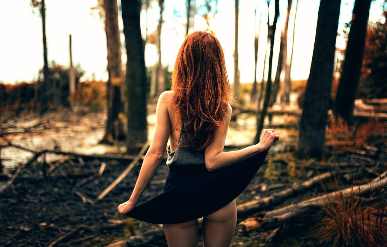 Photo wallpaper forest, girl, legs, skirt, Backside, Miro Hofmann