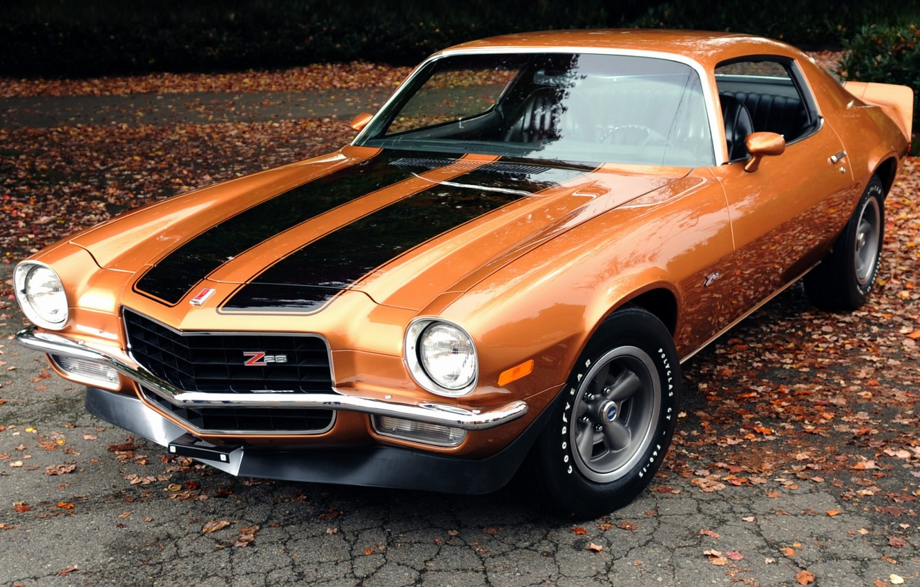 Photo wallpaper leaves, orange, background, coupe, Chevrolet, Camaro, Chevrolet, 1971, Camaro, the front, Muscle car, Muscle car, …