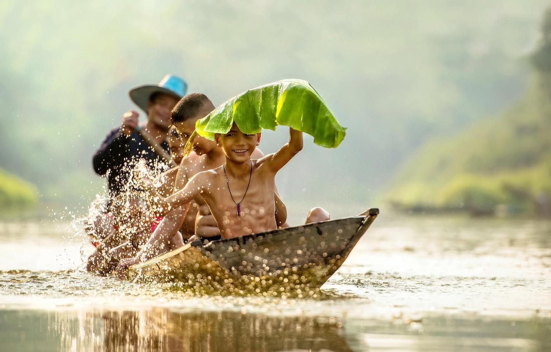 Photo wallpaper children, sheet, river, boat, laughter, Vietnam, river, smile, high quality, boys, boys, boat, children, swimming, …