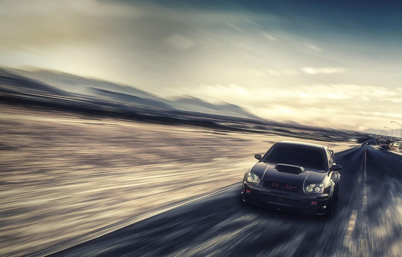 Wallpaper Speed Subaru Impreza Blur Black Wrx Black Front