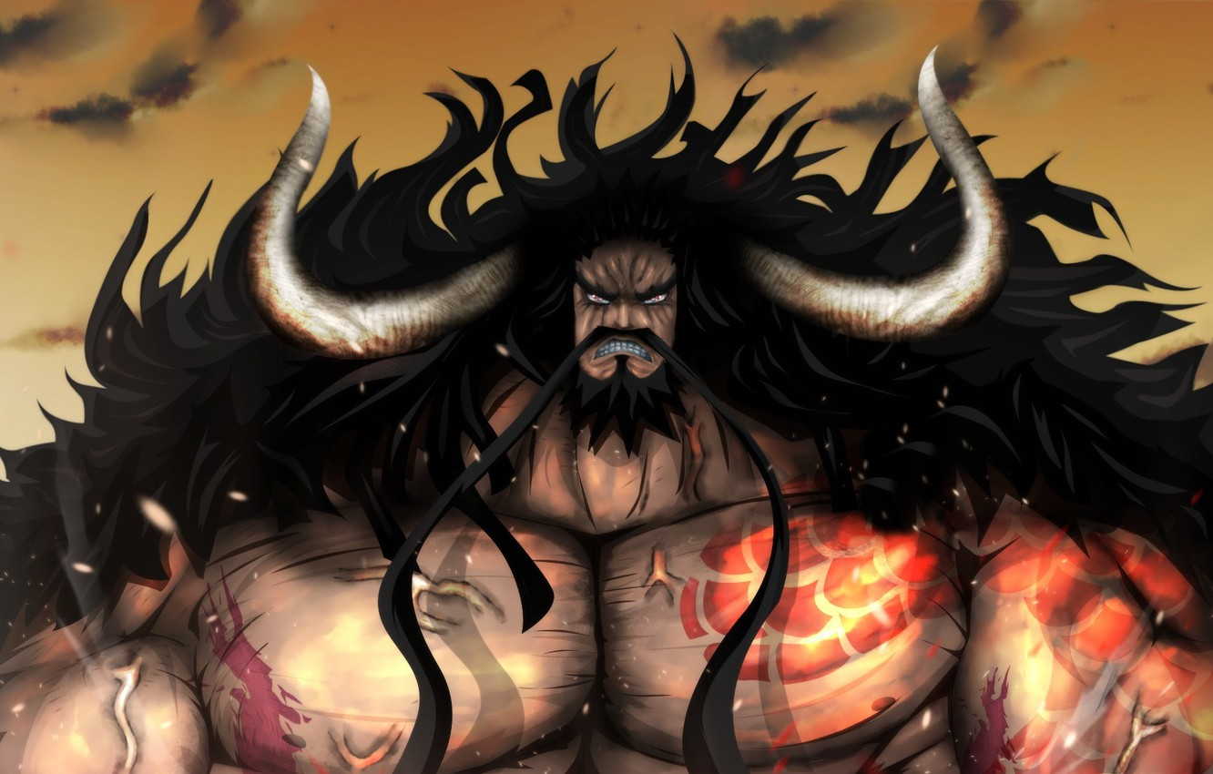 Photo wallpaper fire, flame, game, One Piece, horns, sky, long hair, pirate, anime, cloud, man, tatoo, captain, …