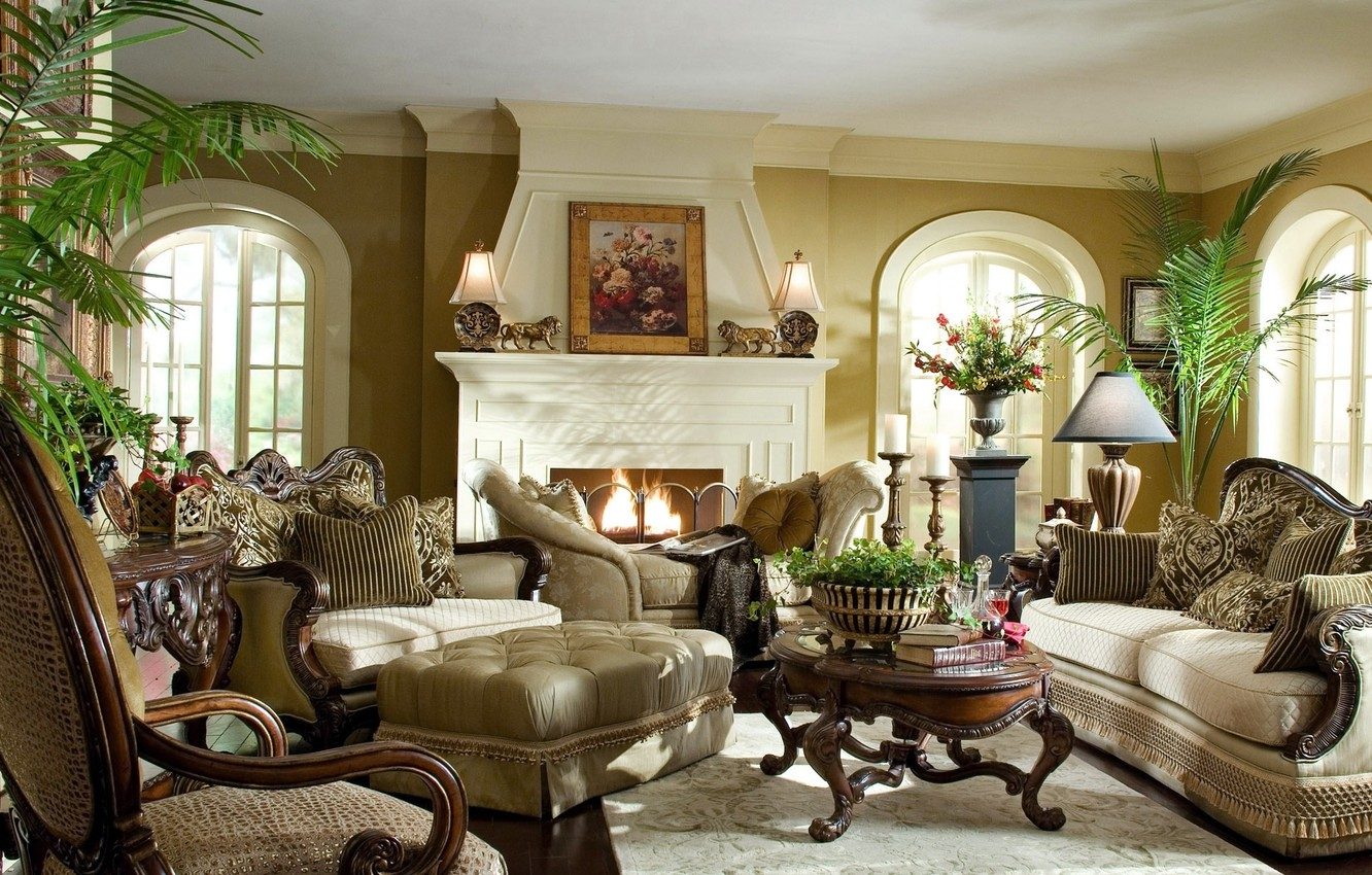 Photo wallpaper room, plants, light, pictures, fireplace, classic, sofas, Statute
