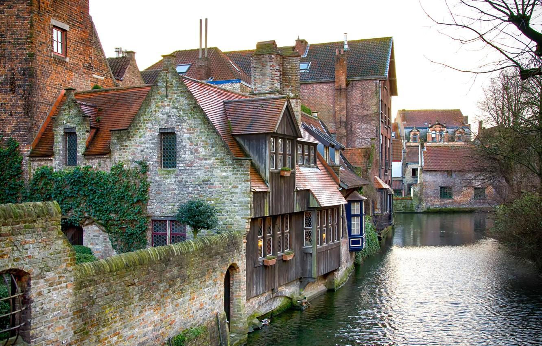 Photo wallpaper Channel, Belgium, Belgium, Bruges, Brugge, Canal, Medieval houses
