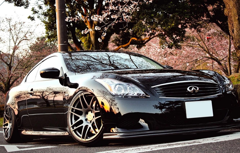 Photo wallpaper Japan, Machine, Black, Desktop, Car, Infiniti, Car, Beautiful, Black, Coupe, Wallpapers, Tuning, Beautiful, Infiniti G37, …