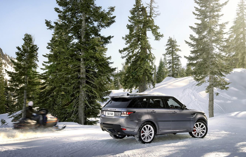 Photo wallpaper winter, machine, snow, trees, mountains, Land Rover, Range Rover, Sport, range Rover
