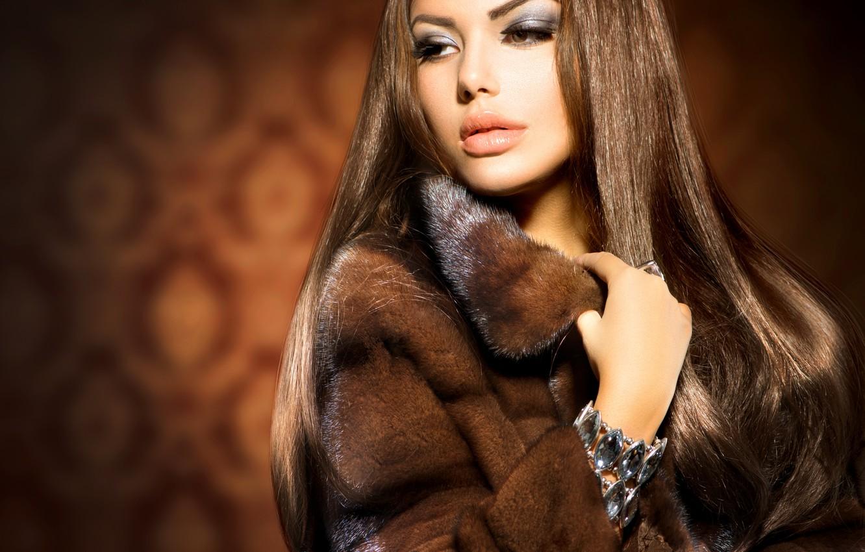 Photo wallpaper look, girl, makeup, ring, coat, decoration, Anna Subbotina