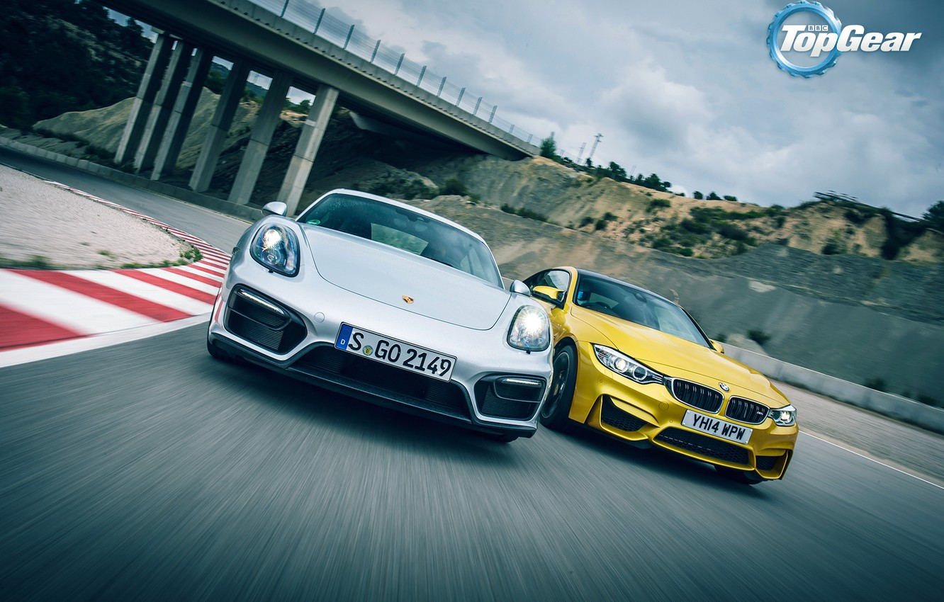 Photo wallpaper Porsche, BMW, Cayman, Top Gear, Speed, Yellow, Supercars, GTS, Silver, Track