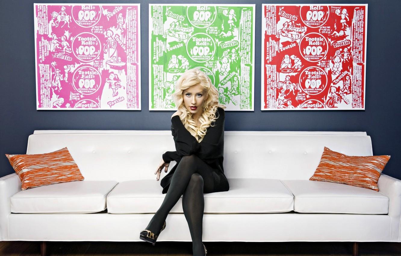 Photo wallpaper look, sofa, model, interior, picture, actress, blonde, pillow, singer, Christina Aguilera, Christina Aguilera
